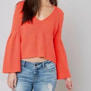 Free people Damsel Bell Sleeve Crop Knit Sweater S